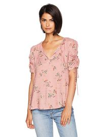 Puff Tie Sleeve Printed Top at Amazon