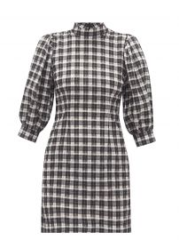Puff-sleeve cotton-blend gingham-seersucker dress at Matches