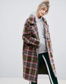 Pull Bear double breasted coat in check at Asos