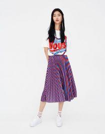 Pull&Bear Pleated Stripe Midi Skirt at Asos