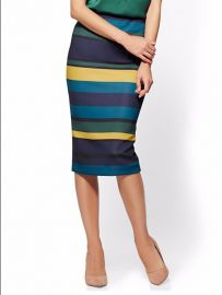 Pull On Pencil Skirt stripe New York Company 7th Avenue at NY&C