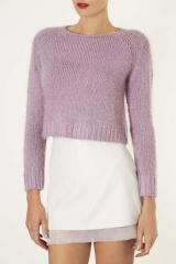 Purple knitted fluffy jumper at Topshop