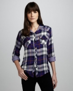 Purple plaid shirt by Rails at Neiman Marcus