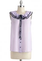 Purple ruffle tie neck top at Modcloth