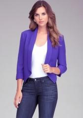 Purple shawl collar blazer at Bebe