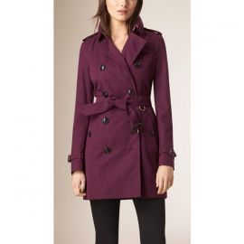 Purple trench coat at Burberry