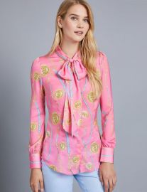 Pussy Bow Chains Blouse at Hawes & Curtis