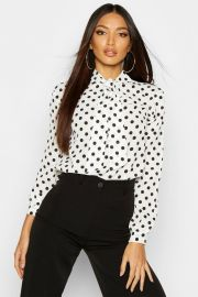 Pussy Bow Polka Dot High Neck Blouse at Boohoo