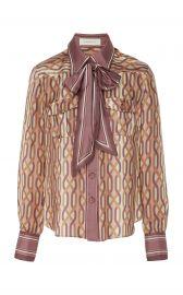 Pussy-Bow Two-Tone Printed Silk Shirt at Moda Operandi