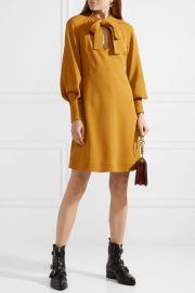 Pussy-bow Stretch-crepe Dress by See By Chloe at Net A Porter