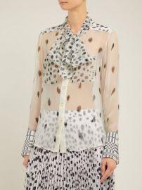 Pussy-bow dalmatian-print silk blouse at Matches