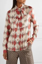 Pussy-bow pintucked printed silk-twill blouse at Net A Porter