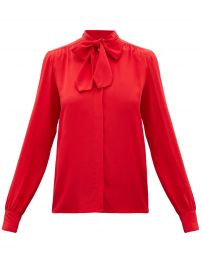 Pussy-bow silk-crepe blouse at Matches