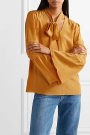 Pussy-bow silk crepe de chine blouse at Net A Porter