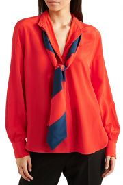 Pussy-bow silk crepe de chine blouse at The Outnet