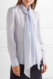 Pussy-bow silk crepe de chine blouse by Chloe at Net A Porter