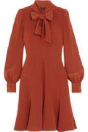 Pussy-bow silk crepe de chine dress at The Outnet
