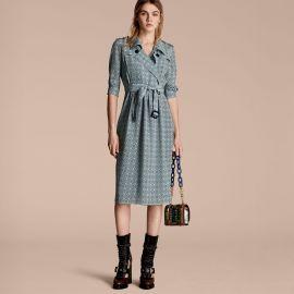 Pyjama Print Silk Trench Dress at Burberry