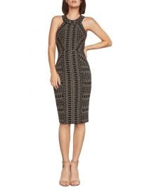 Pyramid-Jacquard Sleeveless Sheath Dress by Bcbgmaxazria at Saks Off 5th