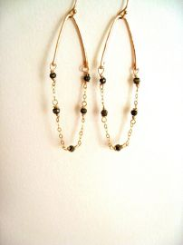 Pyrite and gold earrings by Vitrine at Etsy