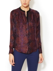 Python Silk Henley Blouse at Gilt