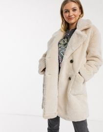 QED London double breasted teddy coat in stone   ASOS at Asos