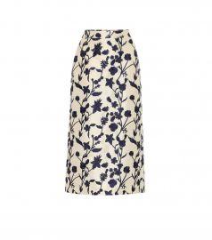 Quercini floral-jacquard midi skirt at Mytheresa