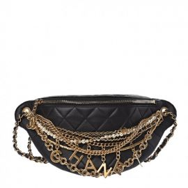 Quilted All About Chains Waist Belt Bag Black by Chanel at Fashionphile