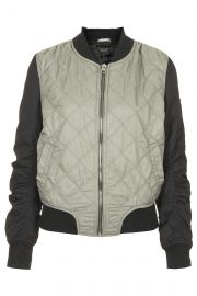 Quilted Contrast Bomber Jacket at Topshop