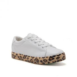 Qupid Women s Lace Up Vegan Leather Fashion Sneakers White  Leopard Animal Print Sillie-01 at Amazon