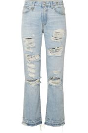 R13 - Bowie distressed mid-rise straight-leg jeans at Net A Porter