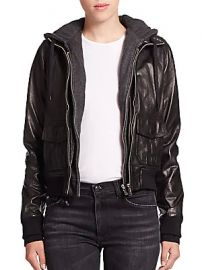 R13 - Layered Jersey-Hood Leather Bomber Jacket at Saks Fifth Avenue
