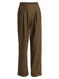R13 - Triple Pleat Plaid Wool Crossover Trousers at Saks Fifth Avenue