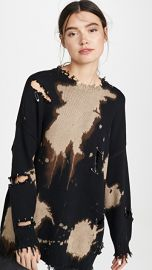 R13 Bleached Distressed Crew Neck Sweater at Shopbop