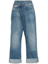 R13 Crossover asymmetric high-rise straight-leg jeans Crossover asymmetric high-rise straight-leg jeans at Farfetch