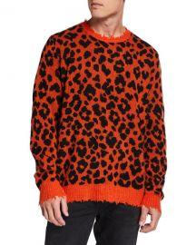 R13 Men  x27 s Leopard Cashmere Sweater at Neiman Marcus