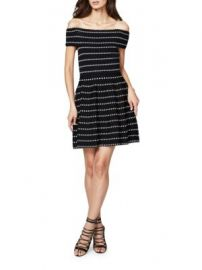 RACHEL Rachel Roy - Dot-Print Off-The-Shoulder Dress at Saks Off 5th