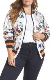 RACHEL Rachel Roy Floral Bomber Jacket  Plus Size at Nordstrom