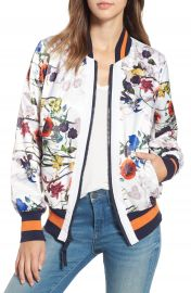 RACHEL Rachel Roy Flower Print Bomber Jacket at Nordstrom