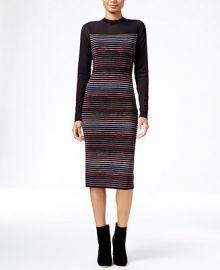 RACHEL Rachel Roy Illusion Striped Midi Sweater Dress at Macys