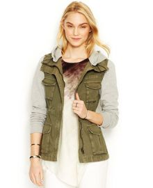 RACHEL Rachel Roy Knit-Sleeve Cargo Jacket at Macys