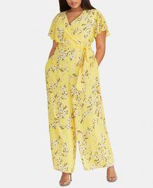 RACHEL Rachel Roy Plus Size Floral-Print Faux-Wrap Jumpsuit   Reviews - Dresses - Plus Sizes - Macy s at Macys