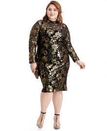 RACHEL Rachel Roy Plus Size Metallic Mock-Neck Dress   Reviews - Dresses - Plus Sizes - Macy s at Macys