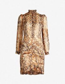 RACKEL SNAKESKIN-PRINT CHIFFON MINI DRESS at Selfridges