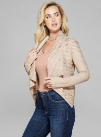 RAEL STUDDED DRAPE LEATHER JACKET at Guess