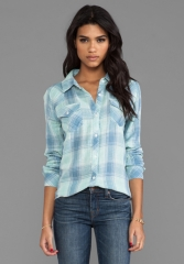 RAILS Kendra Button Down in Mint and Blue - Rails at Revolve