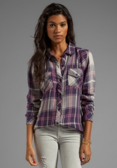 RAILS Kendra Tencel Button Down in NavyPink at Revolve