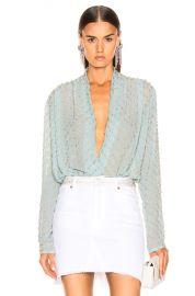 RAISA VANESSA Embellished Wrap Bodysuit in Mint   FWRD at Forward