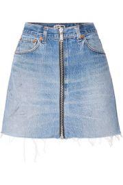 RE DONE -   Levis zip-embellished frayed denim mini skirt at Net A Porter