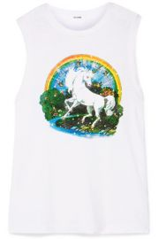 RE DONE   Printed slub cotton-jersey tank at Net A Porter